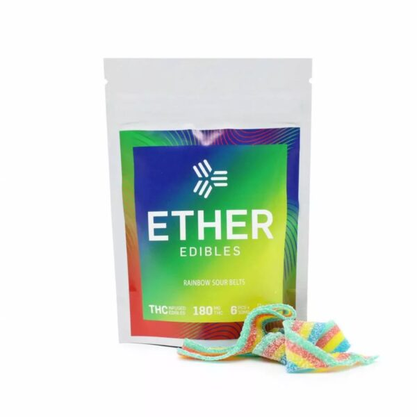 Ether Edibles Rainbow Sour Belts 180Mg