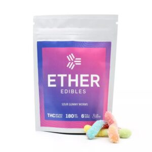 Ether Edibles Sour Gummy Worms 180Mg